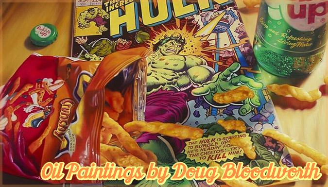アメリカのお菓子や漫画を描いたノスタルジックで美しい油彩画作品