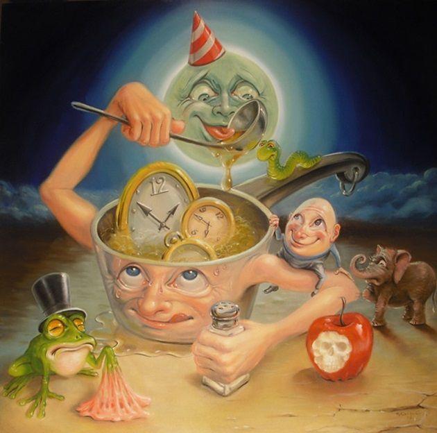 皮肉、歪み、シュールな世界観を描いた油彩画の風刺イラスト