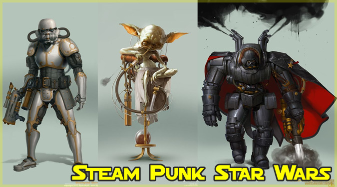 スターウォーズのキャラクターをスチームパンク風に描いた作品!