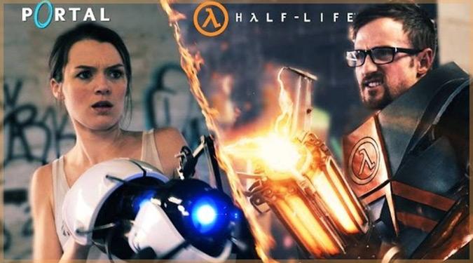 Valveゲームの主人公がお馴染みの武器で対決!ポータルvsハーフライフ!