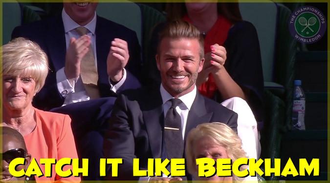 ウィンブルドンを観戦中のベッカムがボールをキャッチして拍手喝采!
