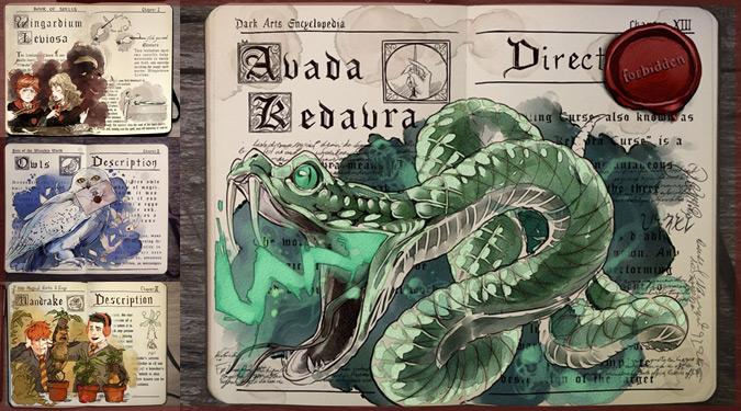 ハリーポッターの有名な魔法を絵と文字で説明したイラスト作品!