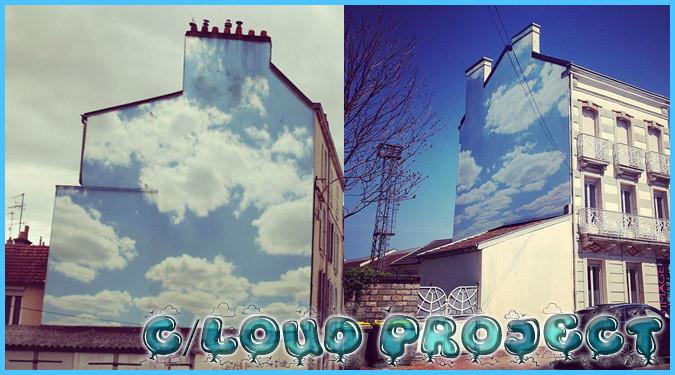 壁一面に広がる美しい青空!清々しい気持ちになれるストリートアート