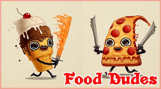 武装した食べ物たちのコミカルなイラスト作品!フードファイター!