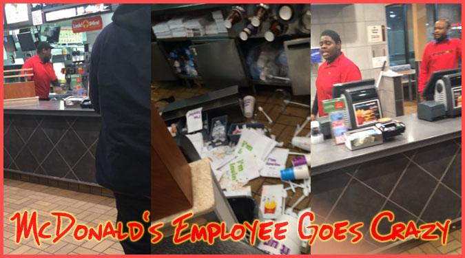 マクドナルドを解雇された従業員が発狂して店内で大暴れ!