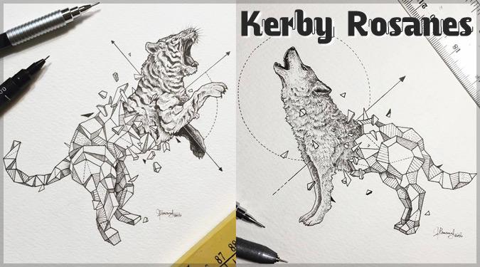 幾何学的な結晶から飛び出す野生動物の姿を描いたイラスト作品