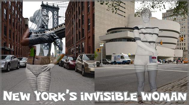 ボディペイントでニューヨークの背景と同化する女性たち