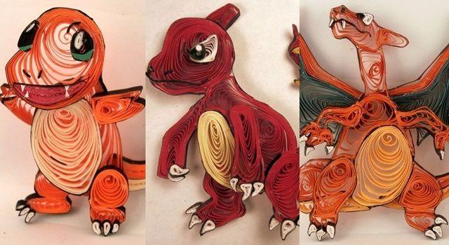 紙属性のポケモンたち!紙を巻いて作るペーパークイリングアート
