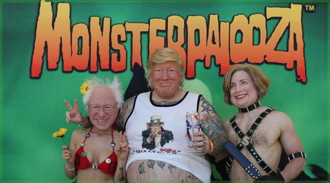 アメリカの大統領候補のマスクを身につけた3人組が面白いと話題に!