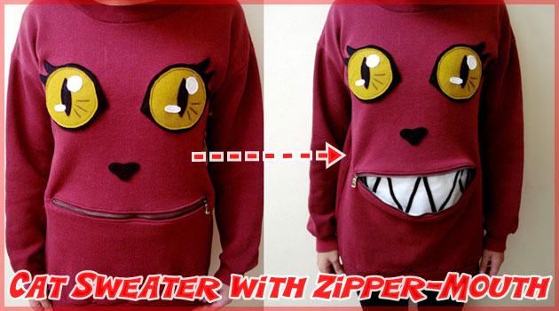 ジッパーの口が付いた可愛らしいネコちゃんセーターの作り方!