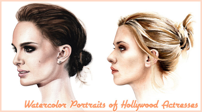 ハリウッド女優を描いたリアルな水彩画の肖像画作品!