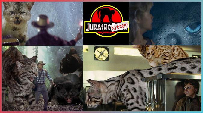ジュラシック・パークの恐竜たちを巨大なネコに置き換えたコラ作品!