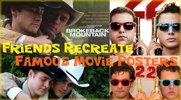あの有名な映画のポスターを二人の男性が再現した画像集