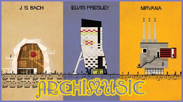 有名な音楽家やバンドを建築物に置き換えた14枚のイラスト集