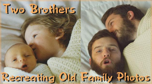 子どもの頃の思い出の写真を再現した二人の兄弟