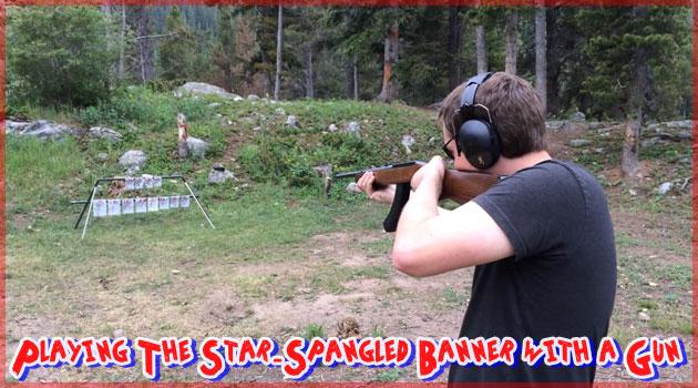 アメリカの国歌を銃で演奏する男!これぞアメリカ!