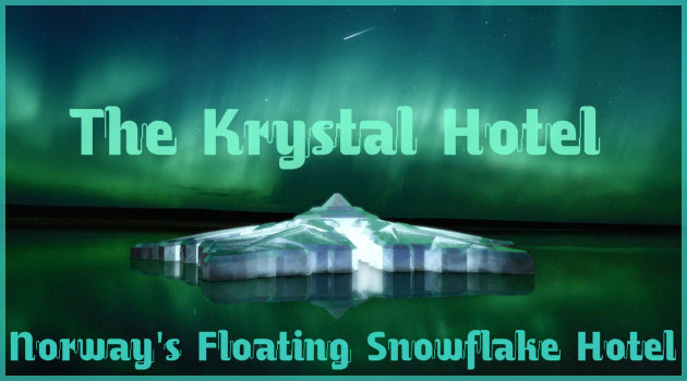 オーロラを見るための海上に浮かぶ雪の結晶型ホテル