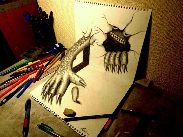 3d_drawing___monster_that_emerged_by_nagaihideyuki-d7hwjis