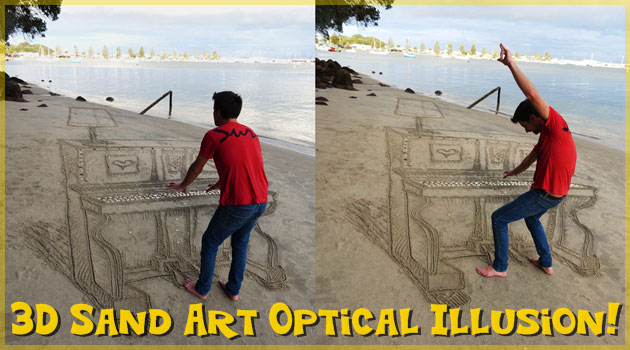 砂浜に描かれたピアノの3Dアート!秘密を知ると感心してしまう!