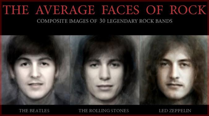 伝説的ロックバンドの顔写真をバンド毎に一枚の写真に合成した作品!