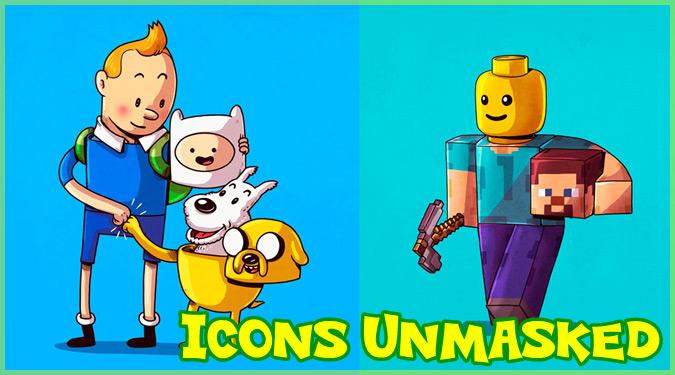 人気キャラクターの中身を描いた衝撃的なイラスト作品「Icons Unmasked」
