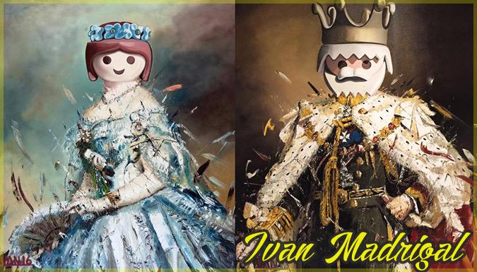 古典絵画にプレイモービルの人形の頭を加えた現代アート作品