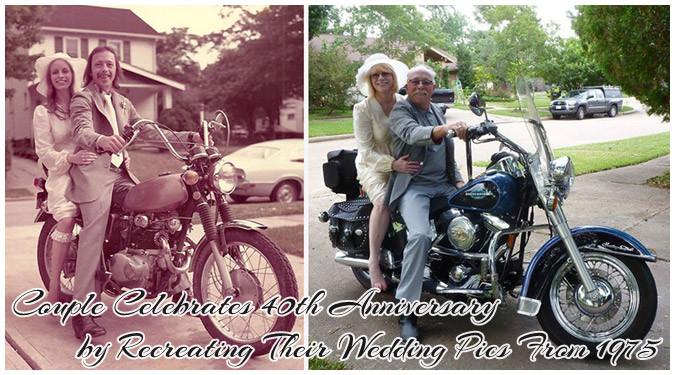 結婚40周年を祝うために1975年の写真を2015年に再撮影した夫婦