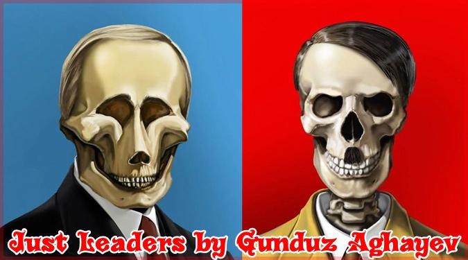 歴史的な悪名高い独裁者をガイコツ姿に描いた不気味なイラスト作品