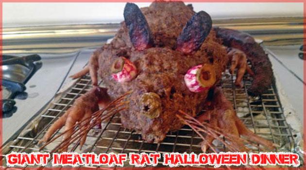 ハロウィンのための巨大なネズミの丸焼きミートローフ
