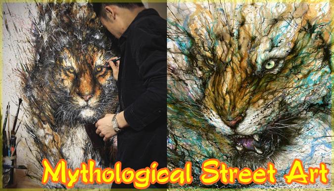 中国の神話に出てくる生き物を描いたエネルギッシュで大迫力なアート作品