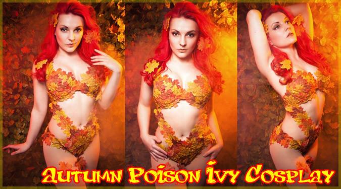 秋の到来を感じさせる紅葉に包まれたポイズン・アイビーのコスプレ!