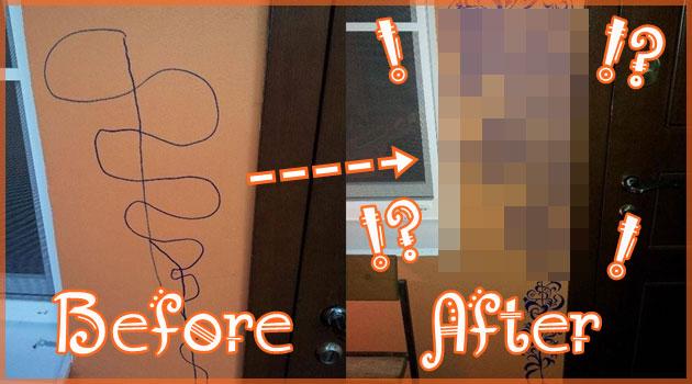 子どもの描いた落書きを見事に修復したアート作品!