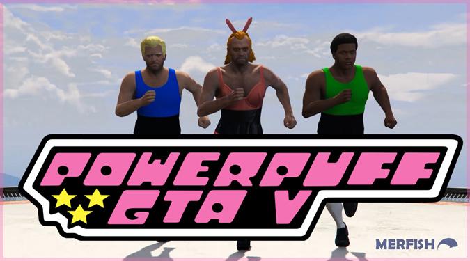 パワーパフガールズのオープニング映像をGTA5で再現したパロディ動画!