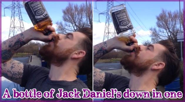 ジャックダニエル700mlを13秒で一気飲みする強者現る