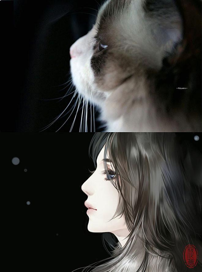 ネコを美しい女性として描いた擬人化イラスト作品 パラリウム