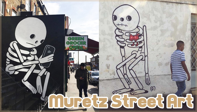 白と黒を基調としたシンプルで愛らしいイラスト&ストリートアート集