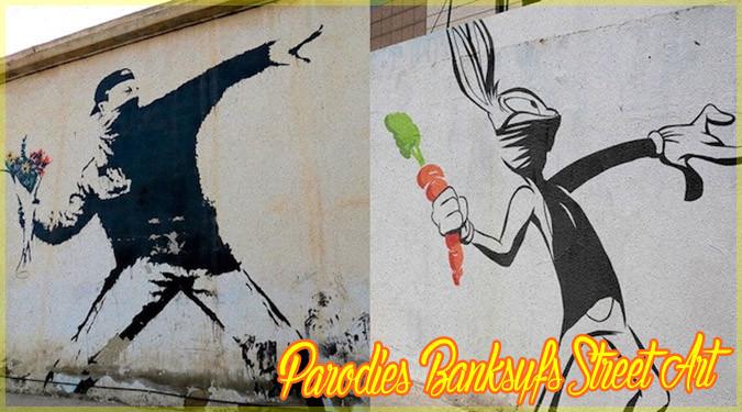バンクシーのアートを有名キャラクターに置き換えたパロディ作品!