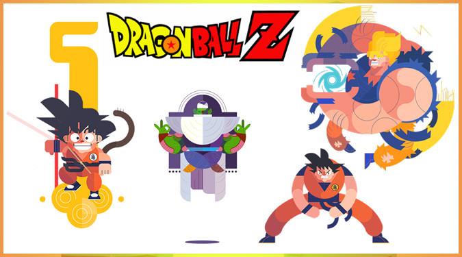 ドラゴンボールのキャラクターをフラットデザインにしたGIFファンアート