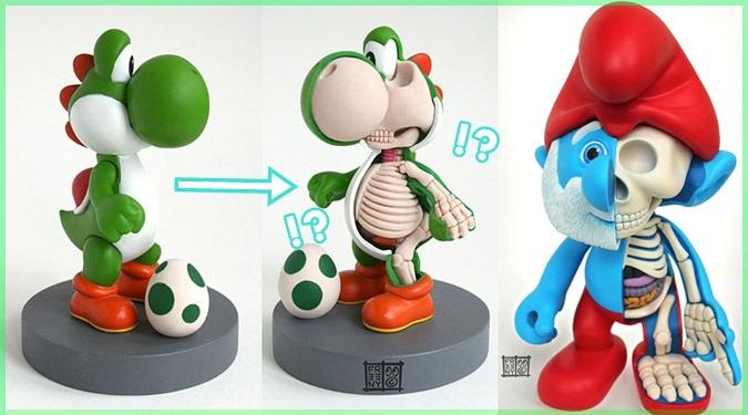人気キャラクターたちを解剖した人体模型のような彫刻作品