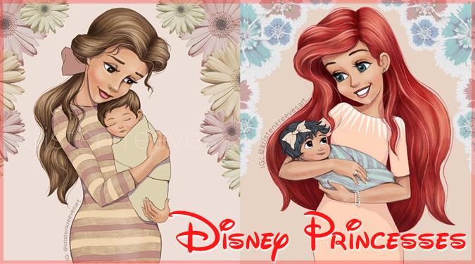 子どもを抱きかかえるディズニープリンセスの母と子のポートレート