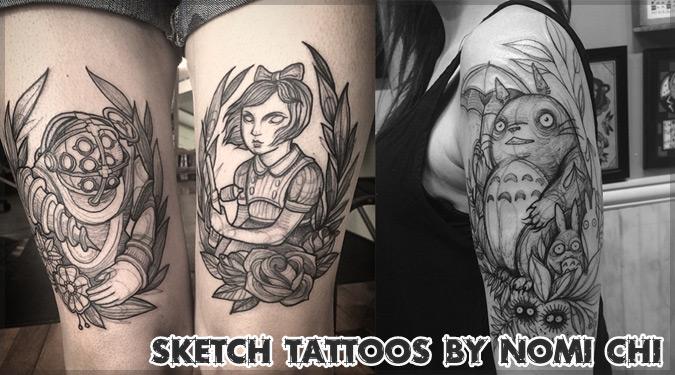 鉛筆のようなタッチで描かれたスケッチ風のタトゥーデザイン!