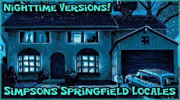 シンプソンズの夜のスプリングフィールドを描いたイラスト!