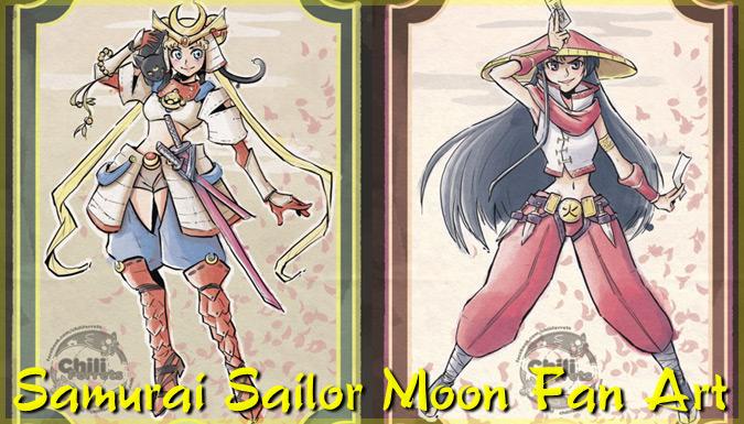 美少女戦士セーラームーンを侍や忍者として描いたクールなイラスト!