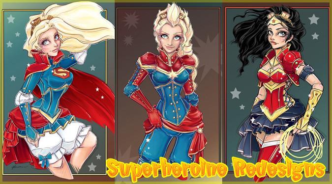 4人のスーパーヒロインをキュートに描いたイラスト作品