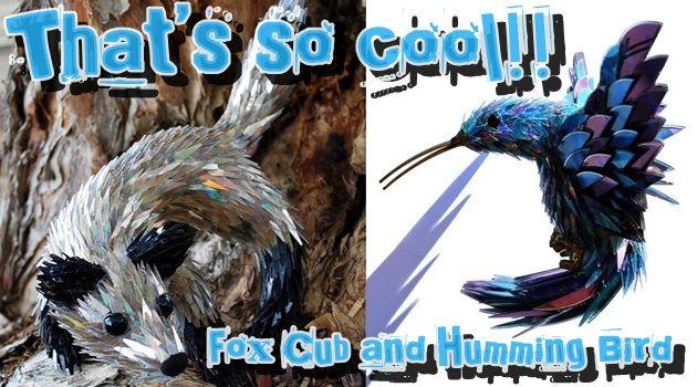 CDディスクの破片から作られた美しく輝く鮮やかな動物たち!