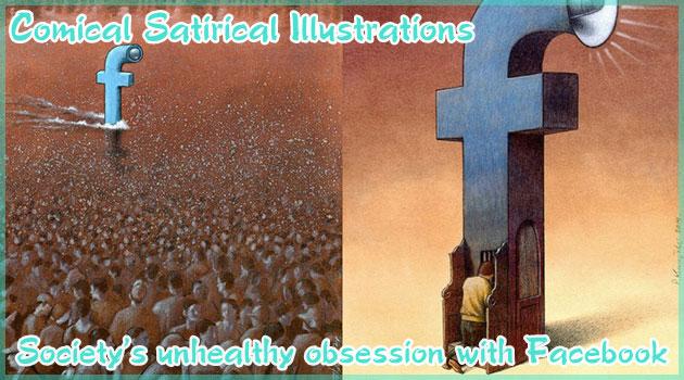 Facebookに執着する不健康な人々を嘲笑うコミカルな風刺イラスト