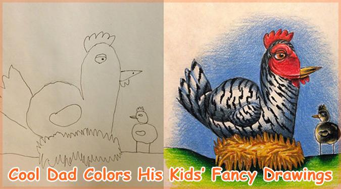 子どもたちのお絵かきに色を加えるクリエイティブなお父さん!