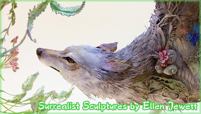 動物と植物を融合した幻想的なシュルレアリスムの彫刻作品